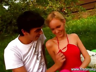 Girl fucks garden hose First anal fuck for blonde teen girl in garden