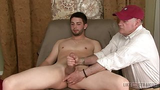 Young Straight Lad Brad Being Given A Handjob in Black Socks