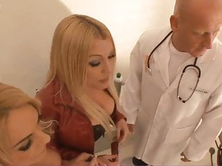 Fucked at the doctors British blonde slut in a ffm threesome at the doctors