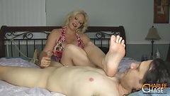 Old blonde feet & Handjob
