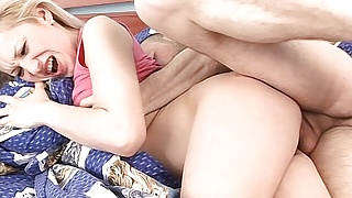 Fucking a tiny amateur blonde with a hairy pussy