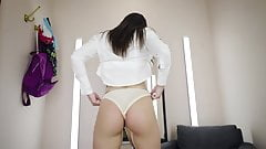 Sexy Fat Ass Babe Try On Thongs