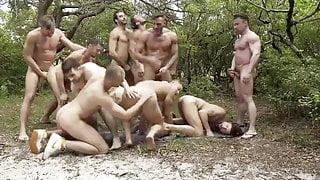 American outdoor bareback gay orgy