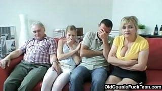 Older couple seduces newlyweds