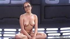 Spex masturbacji babe pussy fucked przez maszynę