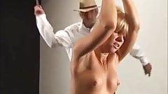 Not hard whip on back of slave.