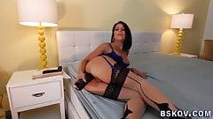 Anally toying pornstar gets ass fucked