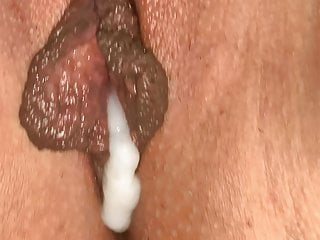 Sperm stranger wifes pussy Huge labia full with sperm