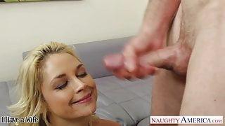 Big assed blonde wife Sarah Vandella riding a large dick