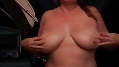 Sexy strip tease outside