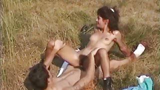 Perky hairy girl fucked outdoor