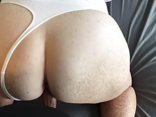 Cum filled thong panties - Redhead fucking in white thong cum on boobs and panties