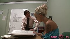 Buxom blonde gets cum in mouth in office