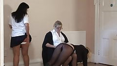 English teacher spank mom and daughter