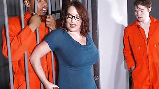 Busty StepMom Maggie Green Takes Two BBCs in a Jail