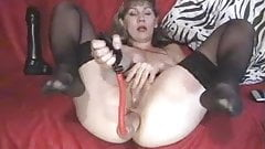 sexy mature loves anal fist dildo pump rose ass gape