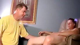 Mature homo sucks amateurs cock to help him cum faster