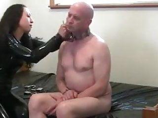 Breast correction tubular - Latex woman shows him the correct way