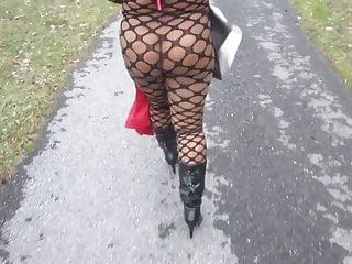 Wifeys lingeries - Wifey strolling on the path
