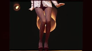 Slender Legs of a Girl Dancing in Pantyhose to house music