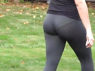 Trough the base of her clit See-trough leggings