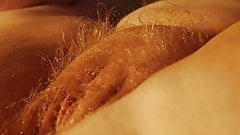 Very Hairy Blonde With Meaty Pussy in Close Up