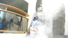 smoking fetish with giant dildo handjob!