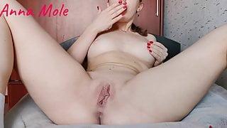Girl in red underwear masturbates pussy wet pussy – Anna Mole