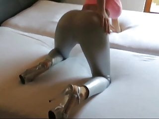 Latex pants attached hood Cute bitch in latex pants gets fucked in her tight pussy