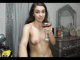 Strapon fake cum - Super sexy long haired brunette dildos, fake cum, shower