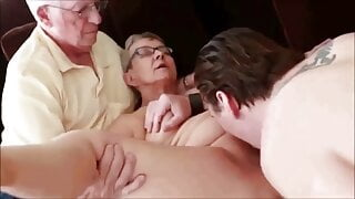 Younger dude having sex with a mature couple