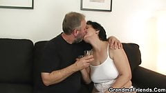 Old lady in white lingerie takes it from both sides