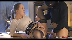 Horny Lady Boss Fucks Thief Who Broke In Her Office