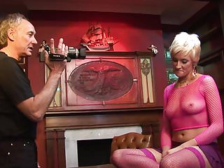 Nude photo pixie hair - Pixie haired blonde in hot pink fishnet bends over to suck cock
