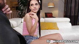 Tiny teen Brooke Haze deepthroats cock for better grades