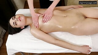 Jeanne Mathieu's first girl-girl massage on a table