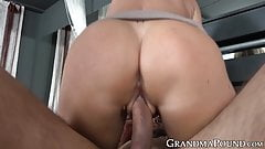 Hot granny rides young dudes big dick and takes cum in mouth