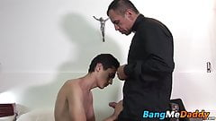 Good looking twink screws with perverted mature minister