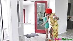Milf sucks and rides clowns cock