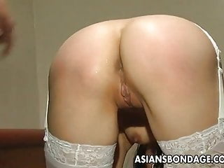 Asian bondage slut Voluptuous domina toy teasing the bound asian slut