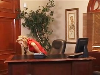 Open blouse breasts - Blonde office milf in frilly red satin blouse fucked