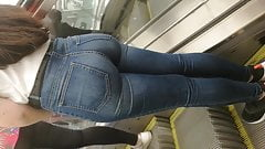 anal tremendous ass in jeans of a young lady on the subway.  amateur