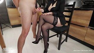 School teacher came home to student handjob on her stockings
