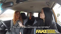 Fake Driving School redhead teen and busty MILF creampie