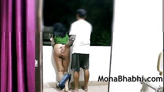 Indian Aunty Outdoors With Her Husband Giving Blowjob and Fucking