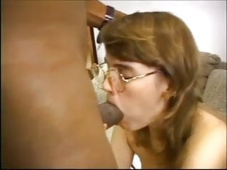 Vintage white spatter glass White girl with glasses interracial anal