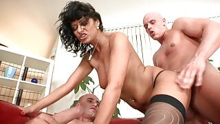Curvy brunette MILF gets all her holes filled with cock