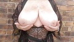 Pierced Nipple Granny Exposes Her Huge Breasts