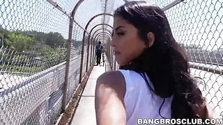 Latina babe hammered by beefy dudes big dick outdoors