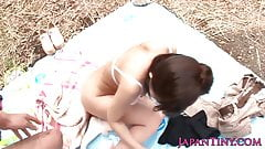 Petite Japanese babe wants cock outdoors during picnic